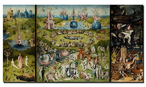 Lienzo impreso en 3 paneles de 60 x 100 cm, réplica del famosos cuadro «El jardín de las delicias» para decoración de pared en salones, Pc5843, 70x140cm