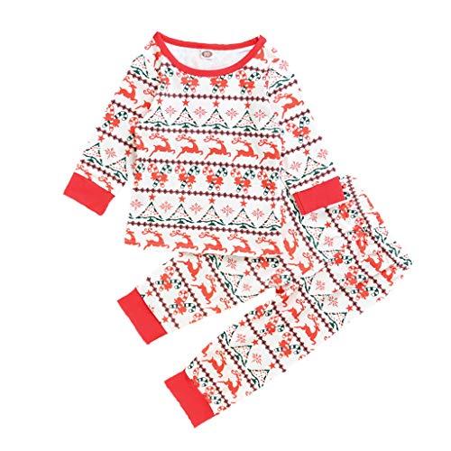 Livoral Baby Mädchen Pyjama Anzug Kleinkind Jungen Jungen Cartoon Hirsch Bluse + Hosen Weihnachten Kleidung(#2,4-5 Jahre)