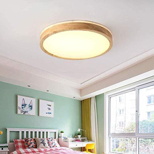 WANGFF Moderno Redondo LED de Techo de Madera Clara, Cubierta de Techo del LED Luz Embedded, Oficina de Dormitorio y Comedor Techo de la Sala de luz, sin Pasos de atenuación, 40Cm20w