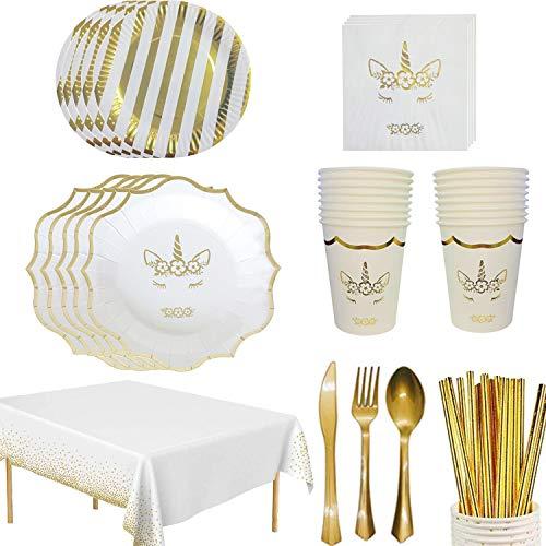 MarquisJacobs 58pcs Einhorn Partygeschirr Folie Löffel Pappteller Servietten Becher Tischdecke Besteck für Hochzeit Geburtstag Jubiläum Set für 8 Gäste Gold & weiß
