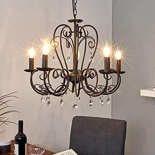Lindby Kronleuchter 'Sophina' (Retro, Vintage, Antik) in Schwarz aus Metall u.a. für Wohnzimmer & Esszimmer (5 flammig, E14, A++) - Pendelleuchte, Hängelampe, Lüster, Lampe, Deckenleuchte