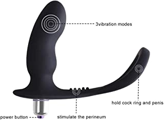 SLH Male Prostate Māssager 16 Frequency Vibratōr With Penis Ring And Ball Ring, Powerful Motor Anal Toy Waterproof G Point Butt Plug Female Couple T-shirt