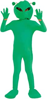 Kids Alien Costume Childrens Green Martian Extraterrestrial Space Outfit