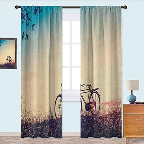 YUAZHOQI Thermal Insulated Blackout Curtains Retro Filter Sunset and Bicycle in Pastel Tones Hipster Joyful Blackout Window Drape for Bedroom 52' x 95' Peach Pale Blue Black