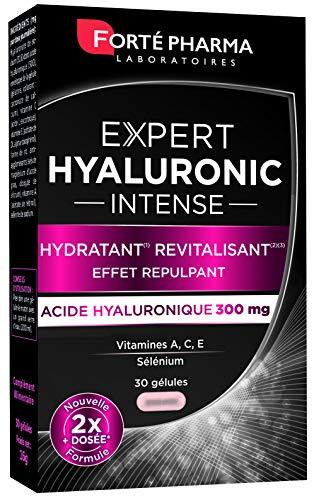 Forté Pharma - Expert Hyaluronic Intense   Complément Alimentaire Peau à base d'Acide Hyaluronique - Effet Repulpant   30 gélules