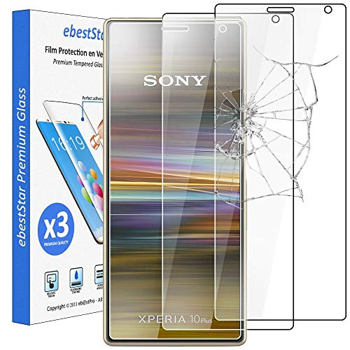 """ebestStar - [Pack x3 Verre trempé Compatible avec Sony Xperia 10 Plus (2019) Film Protection Ecran Vitre Protecteur Anti Casse, Anti-Rayure, Pose sans Bulles [Xperia 10 Plus: 167 x 73 x 8.3mm, 6.5""""]"""