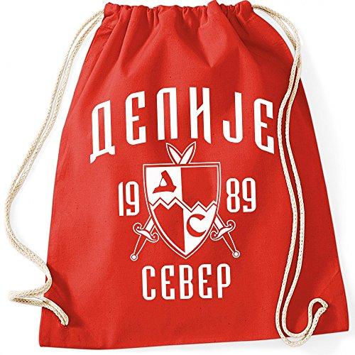 Shirtastic Turnbeutel Beutel Gymsac Delije Crvena Zvezda Red Star Belgrad Beograd Fußball, Farbe:rot, Größe:37 x 46 cm