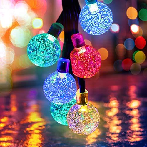 Qomolo Catena Luminosa LED Solare Esterno Luci per Esterni di 7 Meter 50 LED Crystal Globe Impermeabile IP65 Luce Esterno Ideale per Decorazioni di Feste, Vacanze, Cortili, Pergole (Colorato)