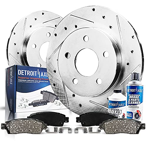 Detroit Axle - Rear Cross Drilled and Slotted Brake Kit Rotor Disc Kit with...