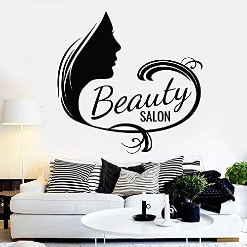 HANDADA Pegatina de pared con letra de personalidad, texto de salón de belleza, decoración de uñas, marcador de papel extraíble, vinilo, salón de belleza, flor, 57 x 57 cm