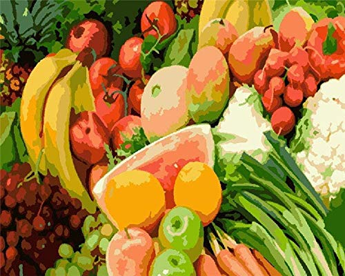 JiaHM Paint By Number Fruit food Painting Paintworks-Include inner frame 40x50cm