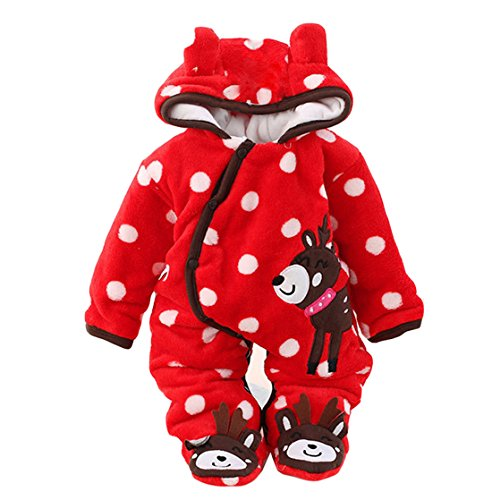 Gaorui Newborn Baby Jumpsuit Outfit Hoody Coat Winter Infant Rompers Toddler Clothing Bodysuit Red