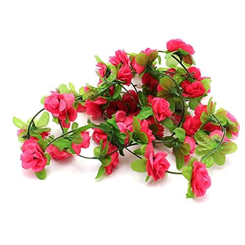 C-LARSS Fake Vines Arreglo floral falso ratán resistente al sol decoración del hogar Rojo rosa