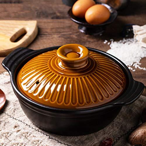FCSFSF Olla de tierra para sopa, olla caliente japonesa Donabe, cazuela redonda de arcilla con doble mango, olla personal, olla de estofado lenta, cazuela cubierta de cerámica con tapa naranja 0.8l