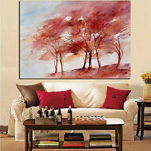 QianLei Rode Boom creatieve abstracte olieverfschilderijen op canvas kunstenaars landschap Pop Art wandschilderij voor woonkamer Cuadros Decor-30x45_cm_Unframed