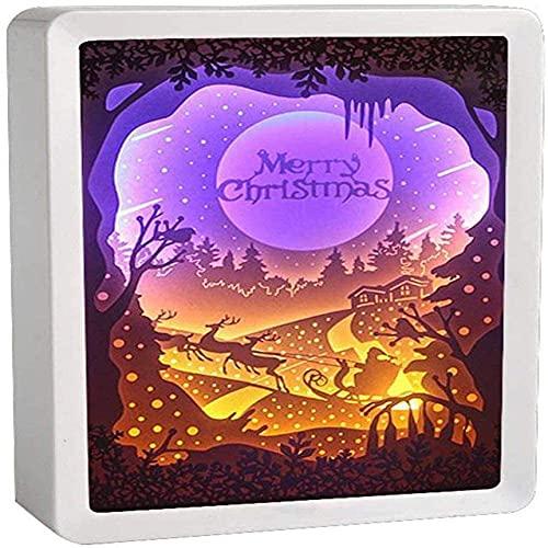 Luces nocturnas hechas a mano Lámpara de mesa LED creativa Luz de noche y sombra Luces talladas, lámpara de papel de papel 3D Lámpara de arte y artesanías, Regalo (Color : G)