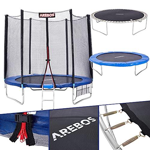 Cama elástica de exterior Arebos Ø 305 cm | Juego completo Incl. red de seguridad, escalera, colchoneta de salto, postes de red acolchados, red para zapatos y cubierta de bordes