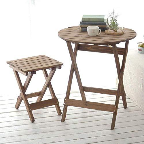 WTT Opvouwbare tafel tuintafels kleine ronde lage eettafel en stoelen set voor outdoor camping draagbare houten opklapbare eettafel (maat: # 1)