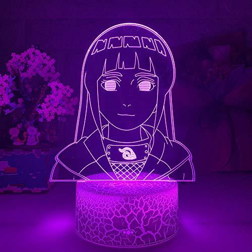 3D Nacht Lampe Illusion Lampe 3D Lampe Hinata Hyuga Figur Nachtlicht Für Kinder Mädchen Schlafzimmer Dekor Farbe Wechseln Batterie USB LED Nachtlicht Geschenk ZMSY