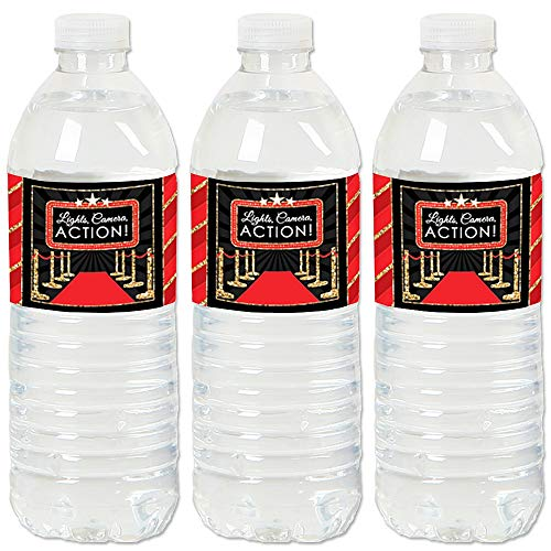 Big Dot of Happiness Red Carpet Hollywood - Movie Night Party Water Bottle Sticker Labels - Set of 20