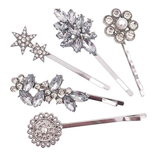 5-Pack Vintage Crystal Decorative Bobby Pins Hair Accessories Silver Tone Women