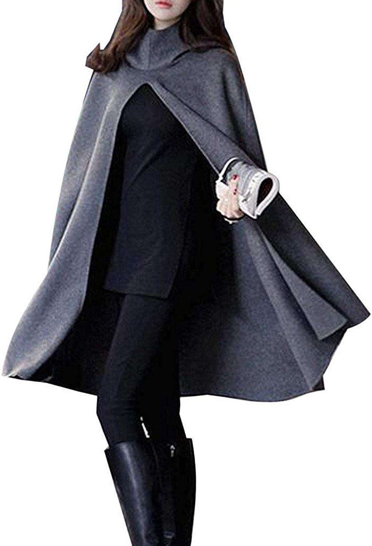 Choies Women Black Split Front Hooded Poncho Cape Woolen Coat Winter Cloak Outwear