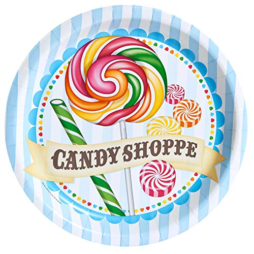 Birthday Express Carnival Candy Shoppe Party Supplies - Dinner Plates (8)