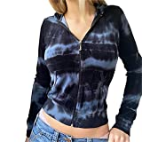 Y2K Survêtement ample à manches longues pour femme avec poche zippée, bleu, S