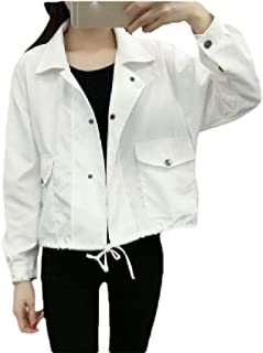 MogogoWomen Drawstring Crop Notch Collar Parka Outwear Pocket Casual Jacket