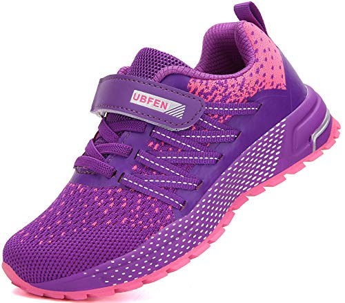 KUBUA Running Shoes Kids Sneakers for Boys Girls Shoes Lightweight Breathable Sport Athletic Purple