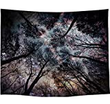 Amiiba Dark Forest Sky Tapiz de pared Mystic Noche Árbol Tapiz colgante de pared Hippie Mandala Bohemio Decoración para el hogar dormitorio Sala de estar (árbol, M - 149 x 129,5 cm)