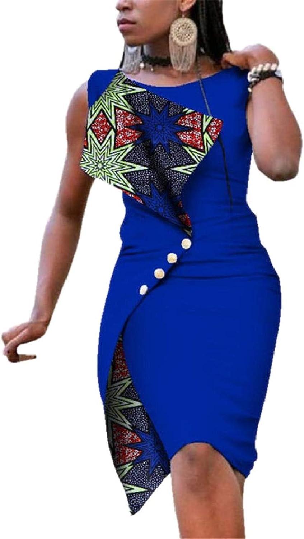 LKCENCA Women's Irregular Plus Size Sexy Pencil Sleeveless Slim Fitted African