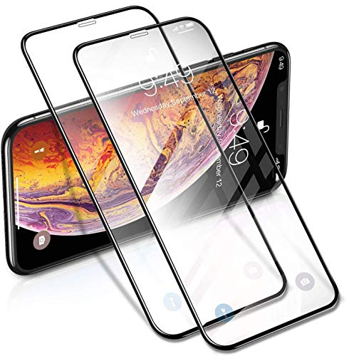 Humixx iPhone Xs/X Screen Protector[2 Pack],3D Curved Edge Full Coverage,Easy Installation,Bubble Free,Anti-Scratch,Premium Tempered Glass Screen Protector for iPhone Xs/X-Crystal Clear
