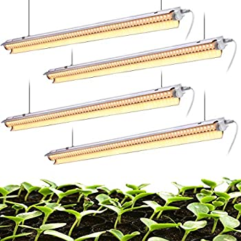 White Light Full Spectrum LED Grow Light 4FT 2-Row V-Shape T8 Integrated Growing Lamp Fixture for Indoor Plants Greenhouse Light with ON/Off Switch Plug and Play Pack of 4  42W x 4