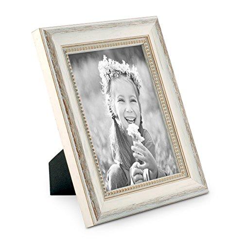 PHOTOLINI Bilderrahmen Shabby-Chic Landhaus-Stil Weiss 13x18 cm Massivholz mit Glasscheibe und Zubehör/Fotorahmen