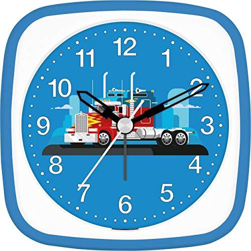 Eurotime wekker jongens Amerikaanse vrachtwagen truck, kinderwekker, blauw, kunststof behuizing en kunststofglas, geluidsarme wekker, zonder tikken, met licht en alarmherhaling, 27152-08