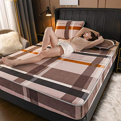LCFCYY Spannbettlaken für Topper,Winterwarme Fleece-Spannbetttücher, Dicke rutschfeste Matratzenauflage, geeignet für Schlafzimmer für Jungen und Mädchen - Q_180 * 220 cm