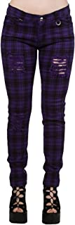Banned Pantalones Ajustados Púrpura Tartán a Cuadros Rasgados EMO Punk