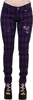 Pantalones Ajustados Púrpura Tartán a Cuadros Rasgados EMO Punk