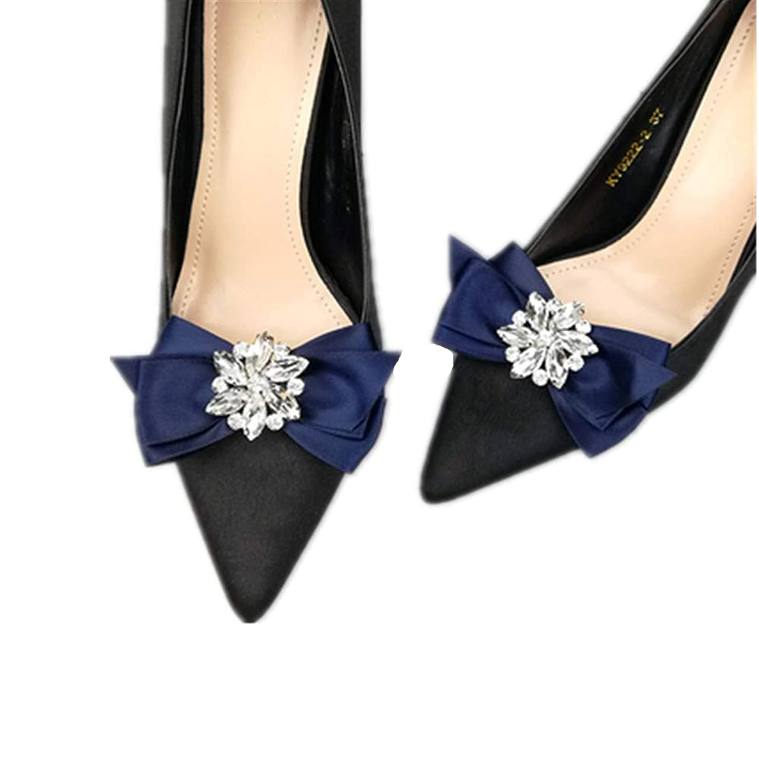 Douqu Rhinestone Crystal Wedding Bridal Shoe Bow Boots Clips detachable shoes buckle Shoe Decoration Charms Pair Jewelry (Navy Blue)