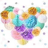 NICROLANDEE Mermaid Party Decorations - 26 farolillos de papel, bolas de panal de abeja con pompones brillantes para fiestas de cumpleaños, baby shower, preferencias para fiestas bajo el mar