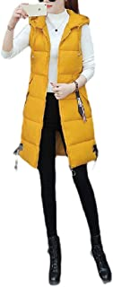 Women Mid Long Solid Color Hooded Down Vest Oversized Thicken Coat