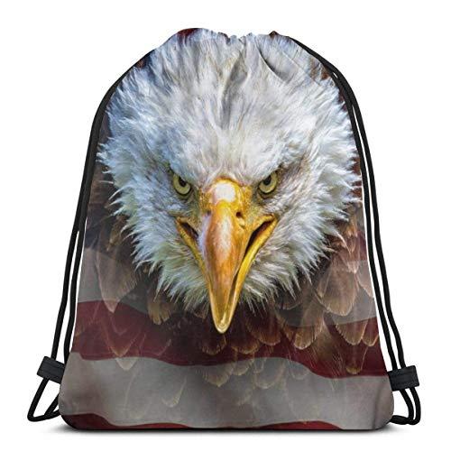 asdew987 Reisepaket, Rucksack mit Kordelzug, lässiger Tagesrucksack, Schulrucksack, Unisex Kordelzug-Taschen, Turnbeutel, Schultertaschen, amerikanische Flagge, Einkaufstasche