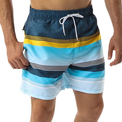 SILKWORLD Men's Swim Trunks Waterproof Bathing Suit Quick Dry Shorts with Pockets,f_Stripes,Medium