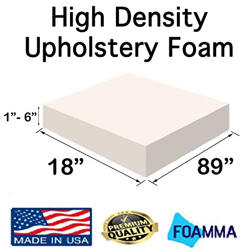 Great Features Of FOAMMA  4″ x 18″ x 89″ High Density Upholstery Foam (Chair Cushion Square Foam for Dinning Chairs, Wheelchair Seat Cushion Replacement)