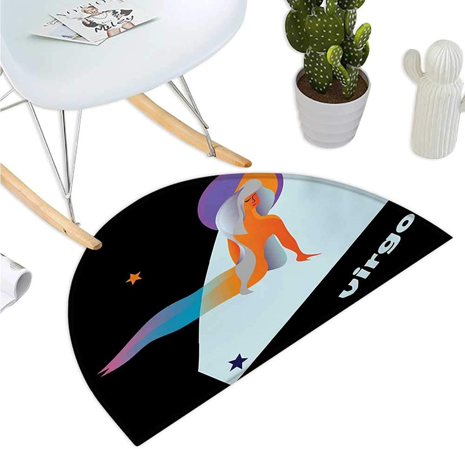 Zodiac Virgo Half Round Door mats Stars and Symbols Theme Abstract Artistic Woman Figure Day and Night Concept Entry Door Mat H 47.2  xD 70.8  Multicolor