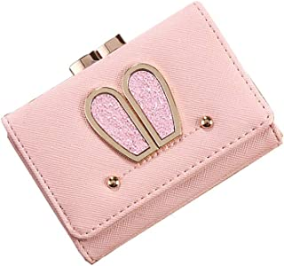 MOCA' Cute Elegant Womens Wallet Small Clutch Wallet Hand purse For Womens Women's Girls Ladies Mini Wallet Clutch Purse 3 Folds Buckle Money Package Card Holder Wallet for Women