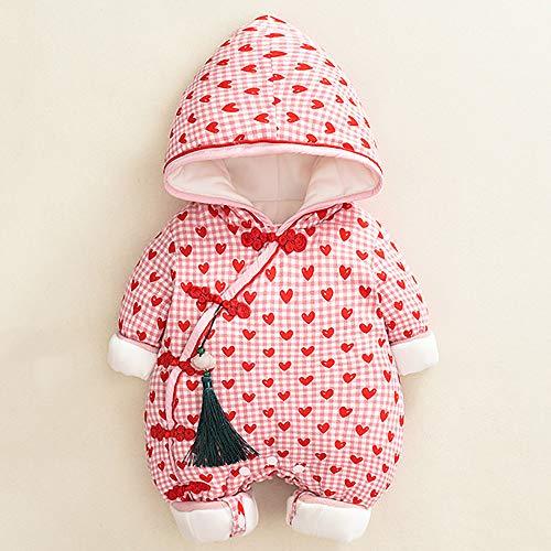 Baby Jumpsuit-Chinese Stijl Liefde Gelukkig Klimmen Pak Plus Fluwelen Dikke Warme Kleding 100cm