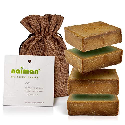 Naiman® Aleppo Seife Original - Premium Qualität - Set aus 2 x 200 g [400g] - Naturseife mit 80% Olivenöl & 20% Lorbeeröl - Natürliche Aleppo-Seife in handlichen Portionen