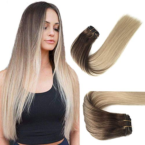 Ombre Sew in Hair Extensions Human Hair 120G Natural Weave Bundles Double Weft Sew in Real Hair Weft Ash Brown to Platinum Blonde Human Hair Extensions for White Women 24 Inch